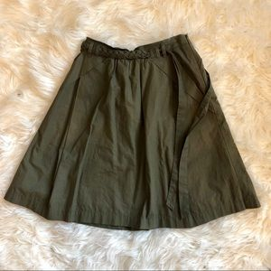 Anthropologie Odille Green Skirt with Braided Tie